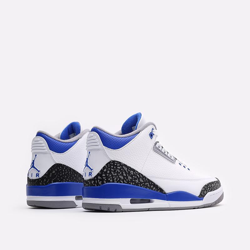 мужские белые, синие  кроссовки jordan 3 retro CT8532-145 - цена, описание, фото 3