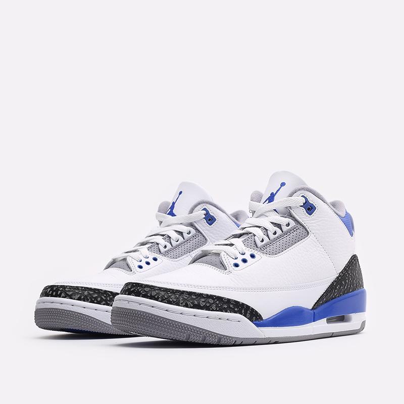 мужские белые, синие  кроссовки jordan 3 retro CT8532-145 - цена, описание, фото 4