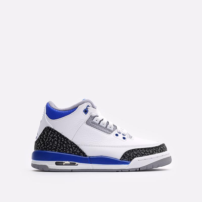 женские белые, синие  кроссовки jordan 3 retro (gs) 398614-145 - цена, описание, фото 1