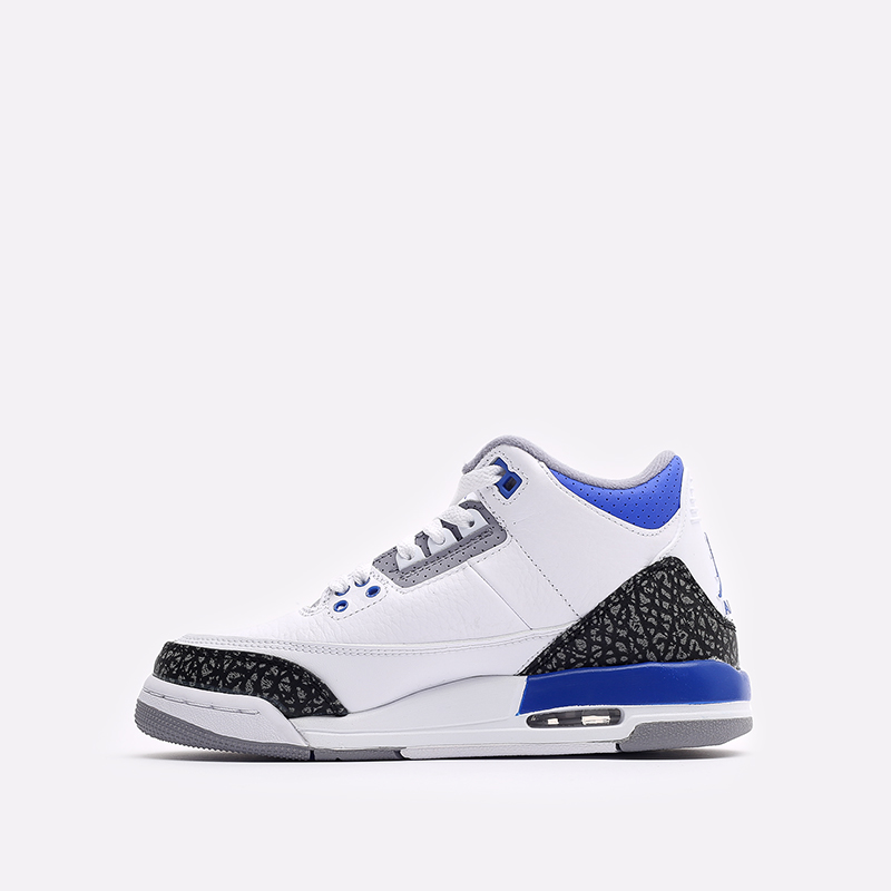 женские белые, синие  кроссовки jordan 3 retro (gs) 398614-145 - цена, описание, фото 2