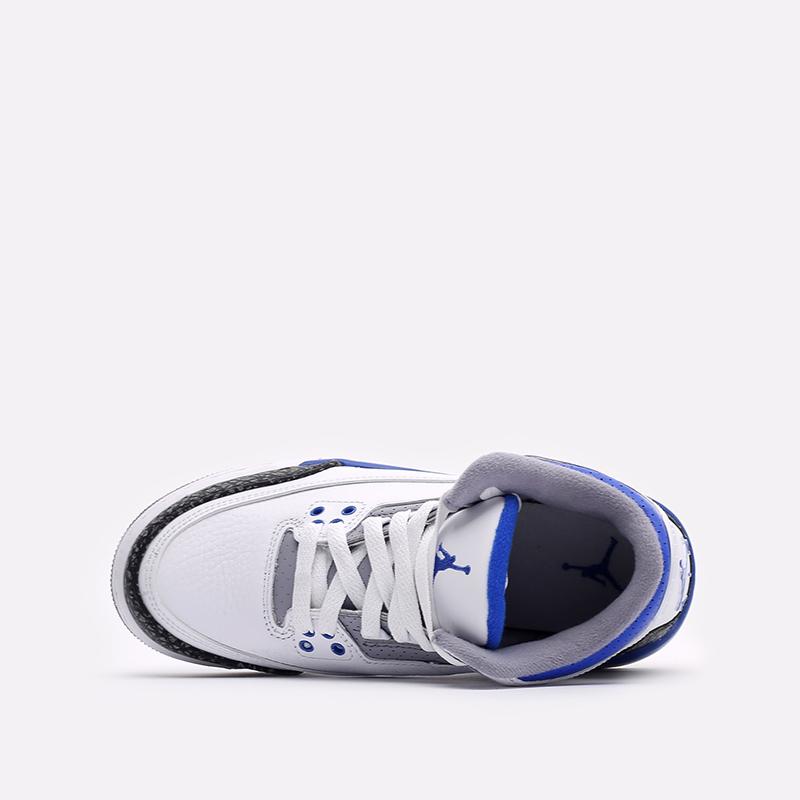 женские белые, синие  кроссовки jordan 3 retro (gs) 398614-145 - цена, описание, фото 6