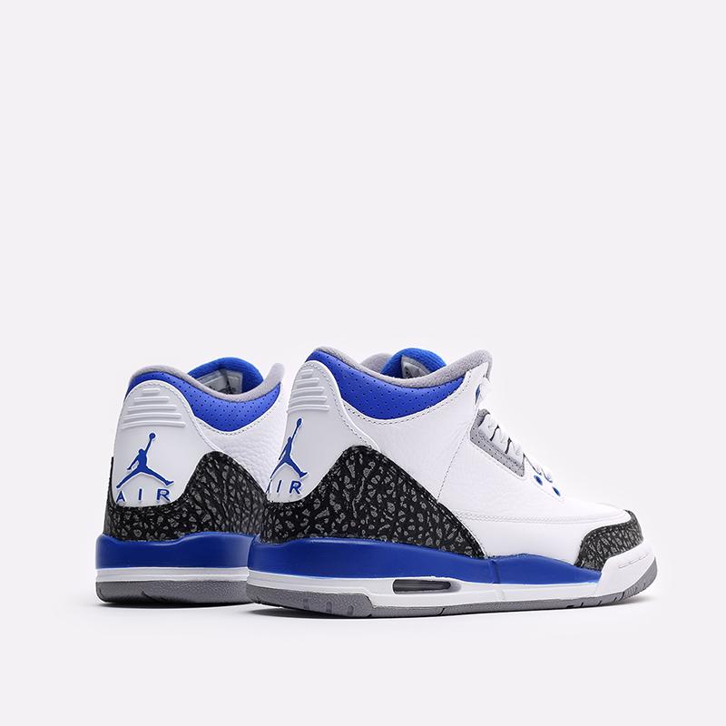 женские белые, синие  кроссовки jordan 3 retro (gs) 398614-145 - цена, описание, фото 3