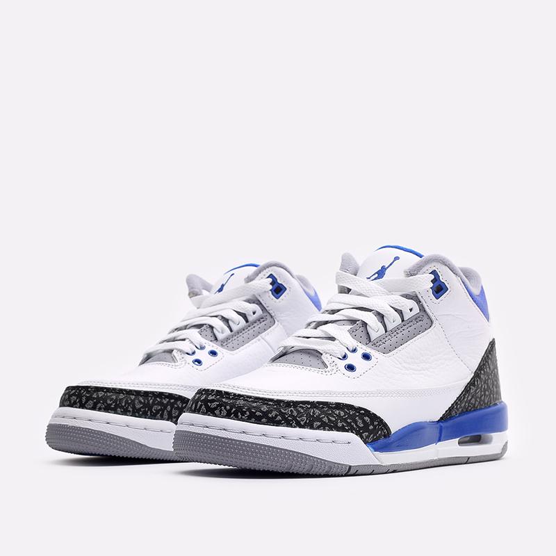женские белые, синие  кроссовки jordan 3 retro (gs) 398614-145 - цена, описание, фото 4