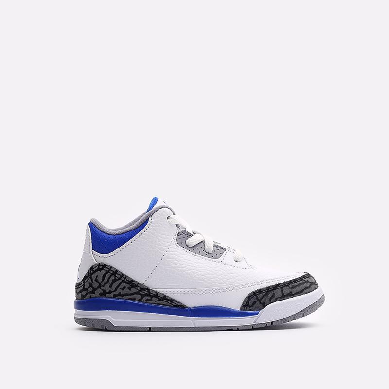 детские белые, синие  кроссовки jordan 3 retro (td) 832033-145 - цена, описание, фото 1