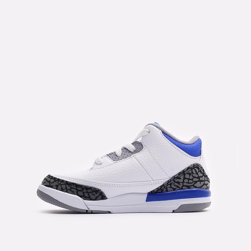 детские белые, синие  кроссовки jordan 3 retro (td) 832033-145 - цена, описание, фото 2