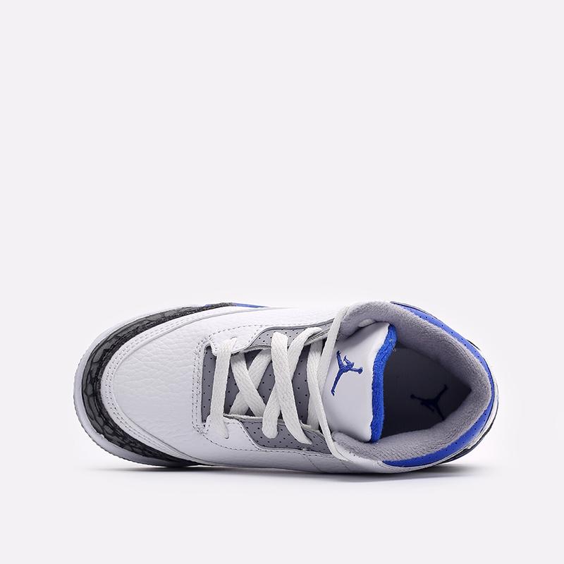 детские белые, синие  кроссовки jordan 3 retro (td) 832033-145 - цена, описание, фото 6