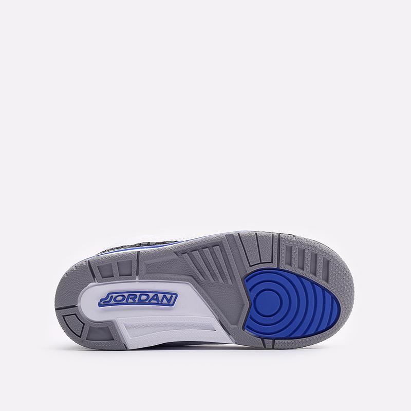детские белые, синие  кроссовки jordan 3 retro (td) 832033-145 - цена, описание, фото 5