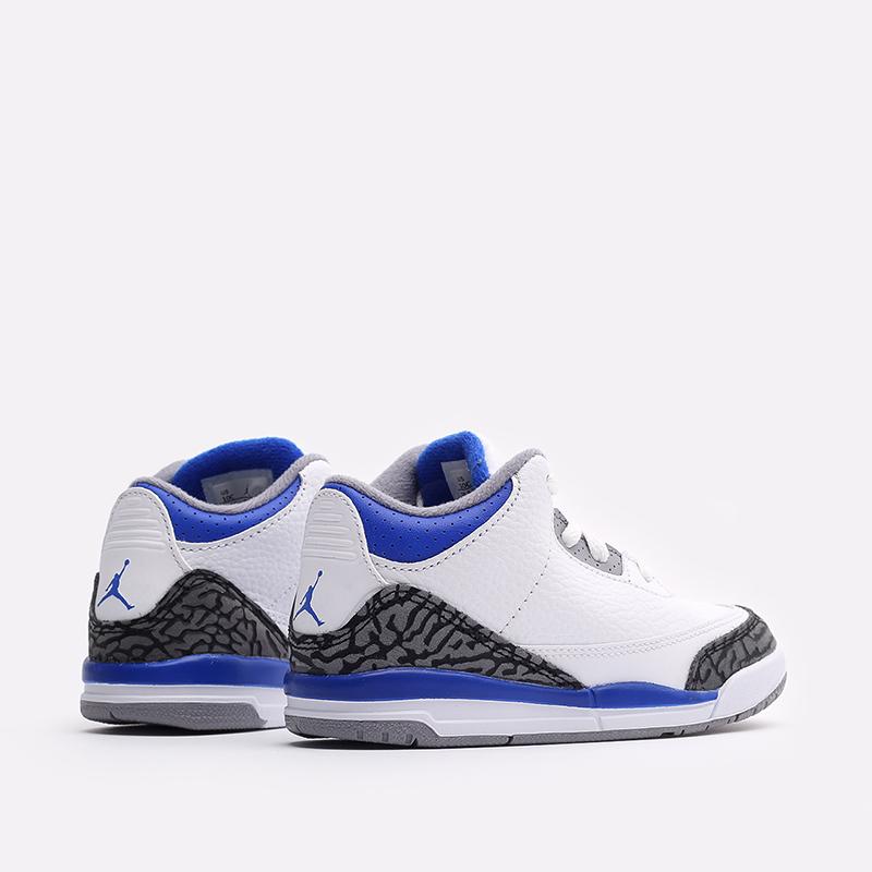 детские белые, синие  кроссовки jordan 3 retro (td) 832033-145 - цена, описание, фото 3