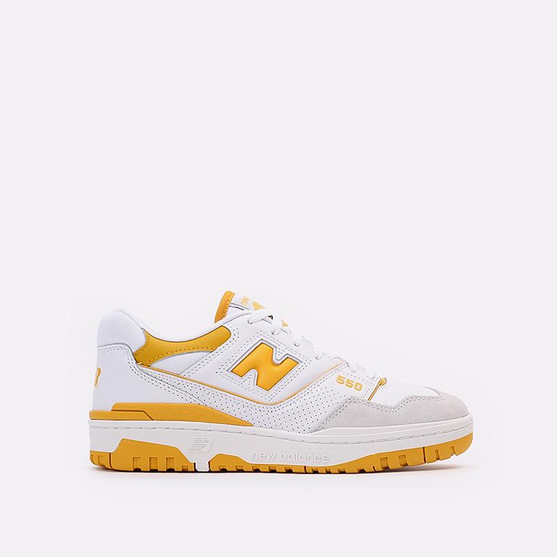 мужские белые, жёлтые  кроссовки new balance 550 C-BB550LA1/D - цена, описание, фото 1