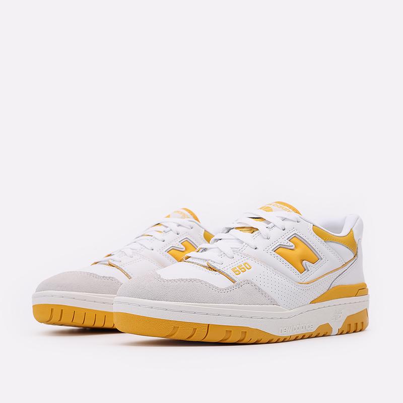 мужские белые, жёлтые  кроссовки new balance 550 C-BB550LA1/D - цена, описание, фото 4