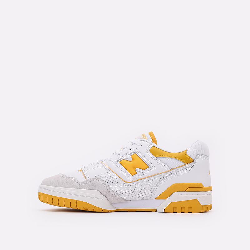 мужские белые, жёлтые  кроссовки new balance 550 C-BB550LA1/D - цена, описание, фото 2