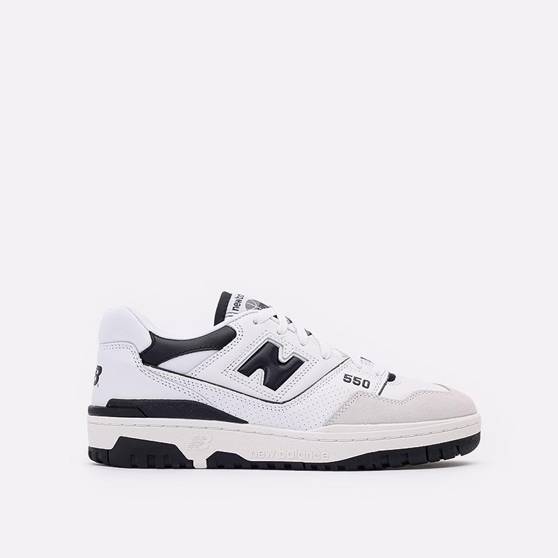 мужские белые, чёрные  кроссовки new balance 550 C-BB550LM1/D - цена, описание, фото 1