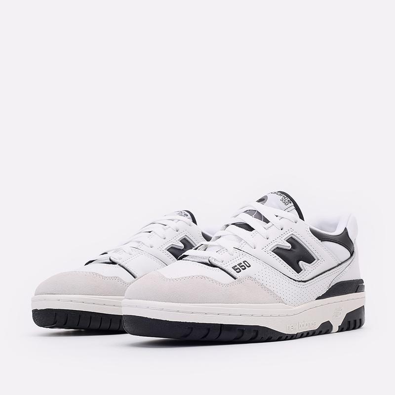 мужские белые, чёрные  кроссовки new balance 550 C-BB550LM1/D - цена, описание, фото 4