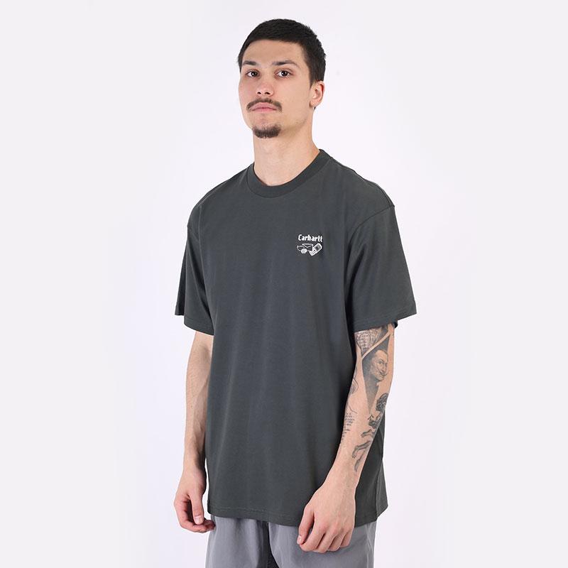 мужская серая футболка Carhartt WIP S/S Screensaver T-Shirt I029629-slate/white - цена, описание, фото 1