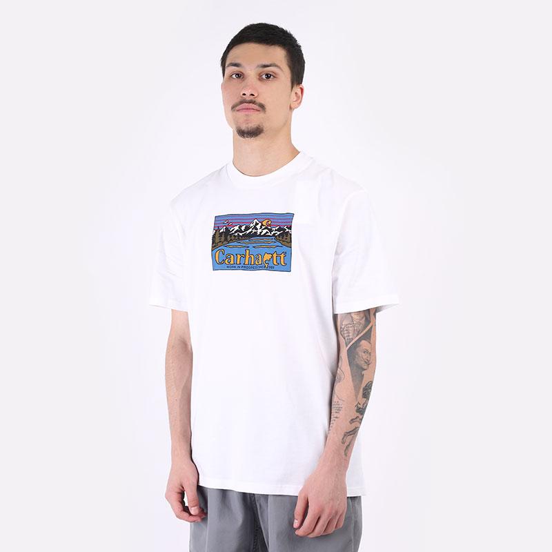 мужская белая футболка Carhartt WIP S/S Great Outdoors T-Shirt I029609-white - цена, описание, фото 1