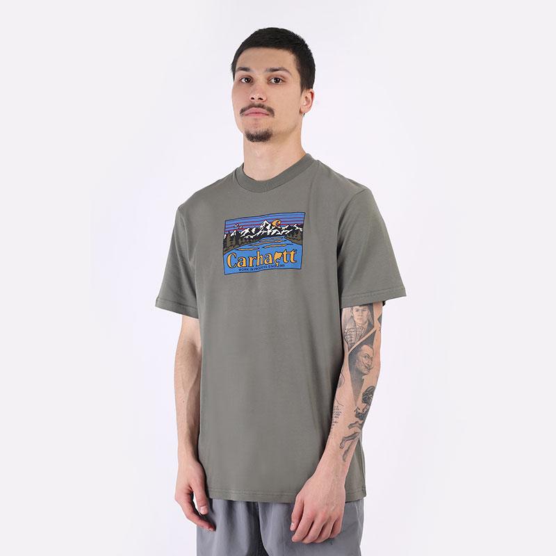 мужская зеленая футболка Carhartt WIP S/S Great Outdoors T-Shirt I029609-thyme - цена, описание, фото 1