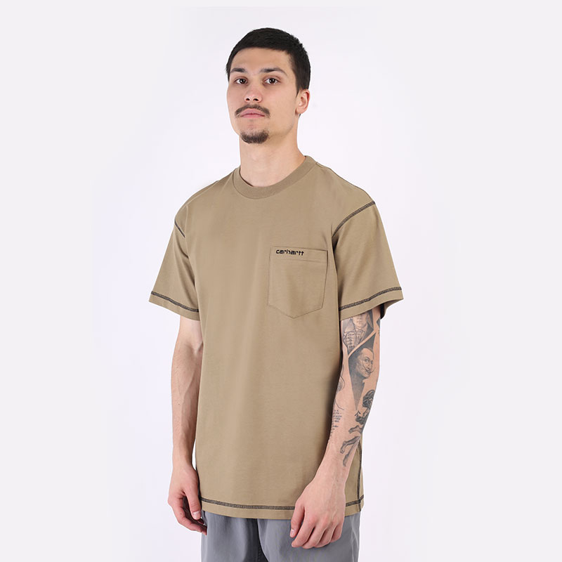 мужская бежевая футболка Carhartt WIP S/S Nazka Pocked T-Shirt I029597-tanami/blk - цена, описание, фото 1