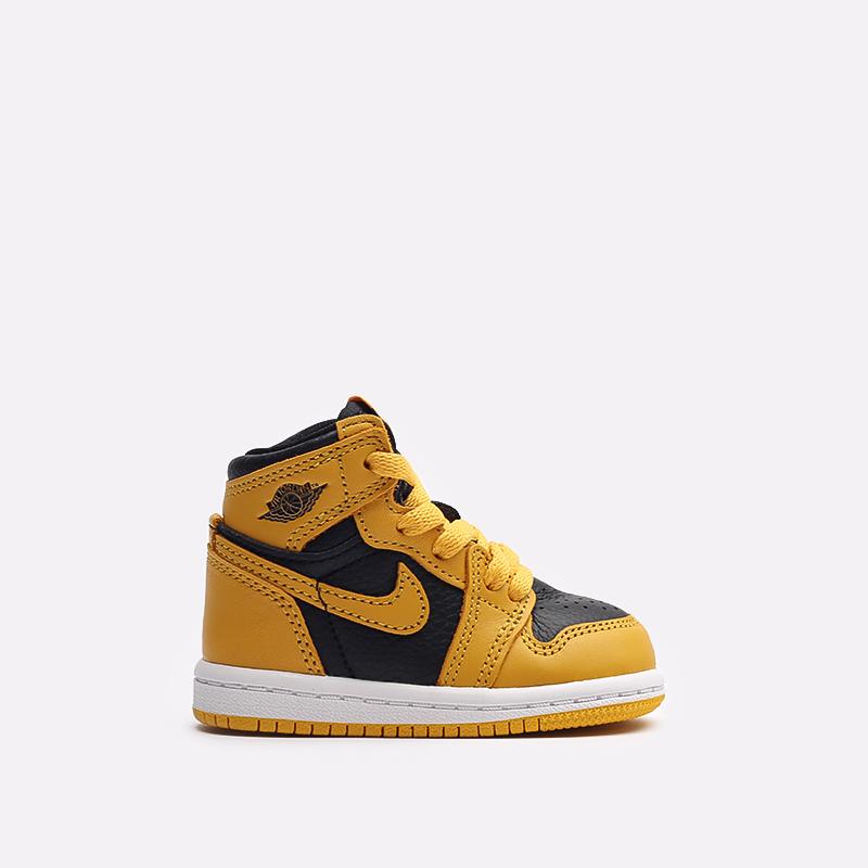 детские жёлтые, чёрные  кроссовки jordan 1 retro high og (td) AQ2665-701 - цена, описание, фото 1