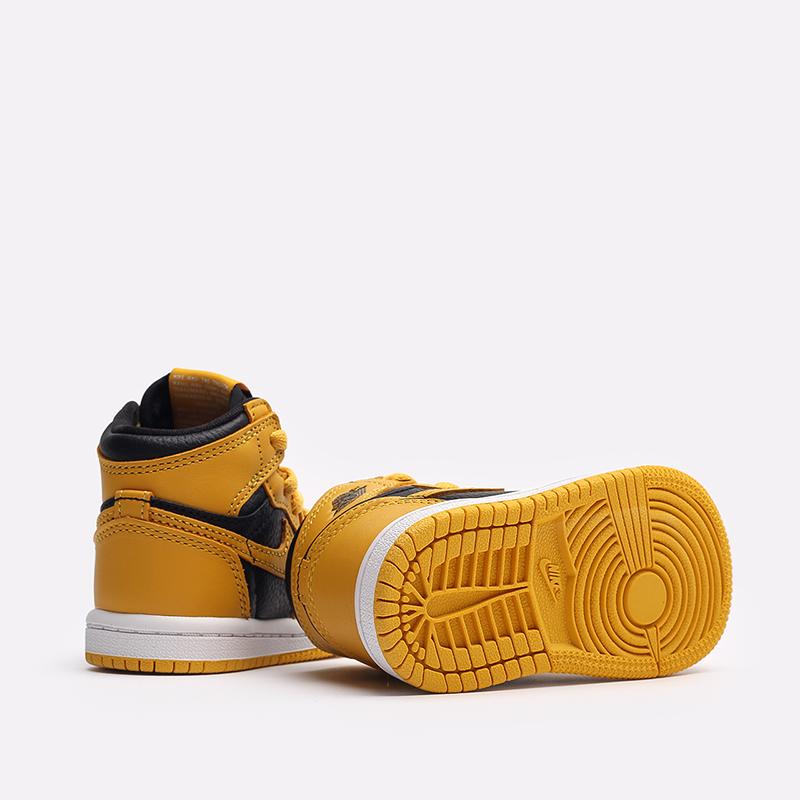 детские жёлтые, чёрные  кроссовки jordan 1 retro high og (td) AQ2665-701 - цена, описание, фото 3