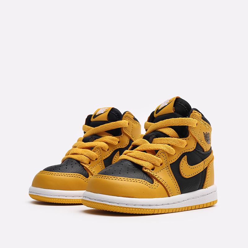 детские жёлтые, чёрные  кроссовки jordan 1 retro high og (td) AQ2665-701 - цена, описание, фото 4