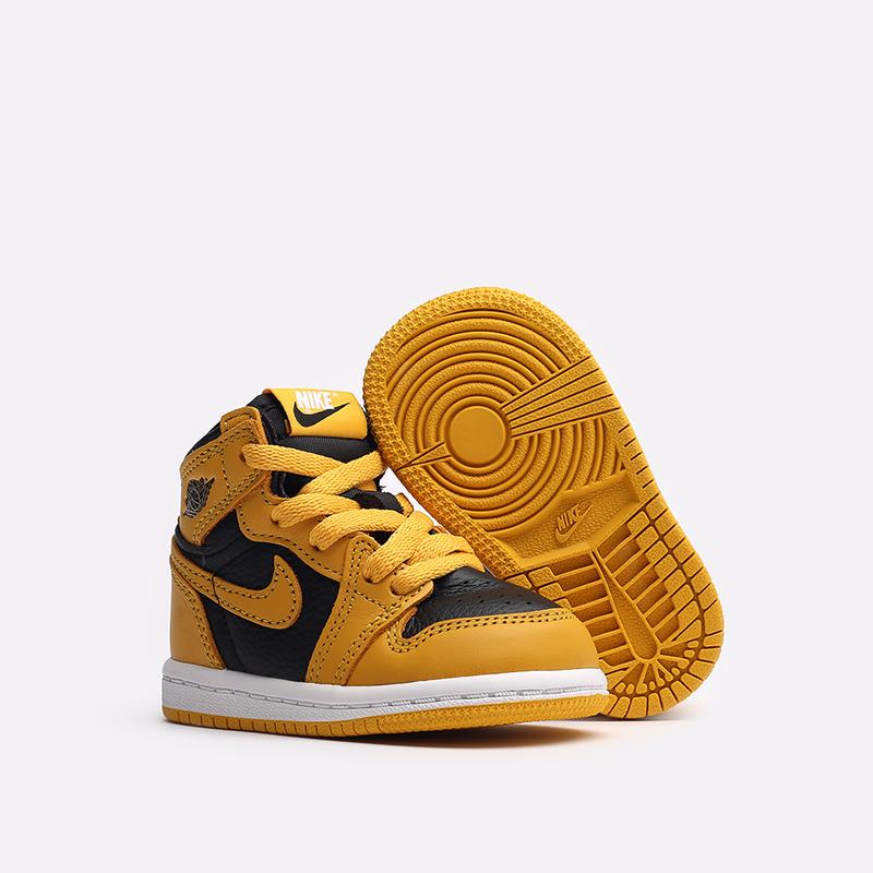 детские жёлтые, чёрные  кроссовки jordan 1 retro high og (td) AQ2665-701 - цена, описание, фото 2