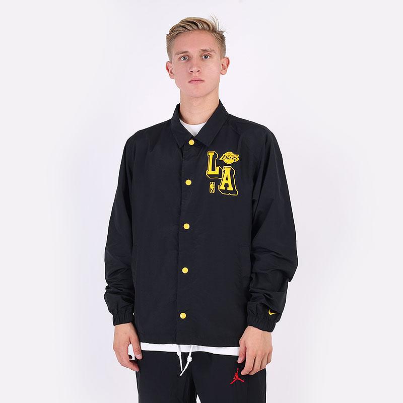 мужская черная куртка Nike Los Angeles Lakers Courtside NBA Coach's Jacket DB1439-010 - цена, описание, фото 1