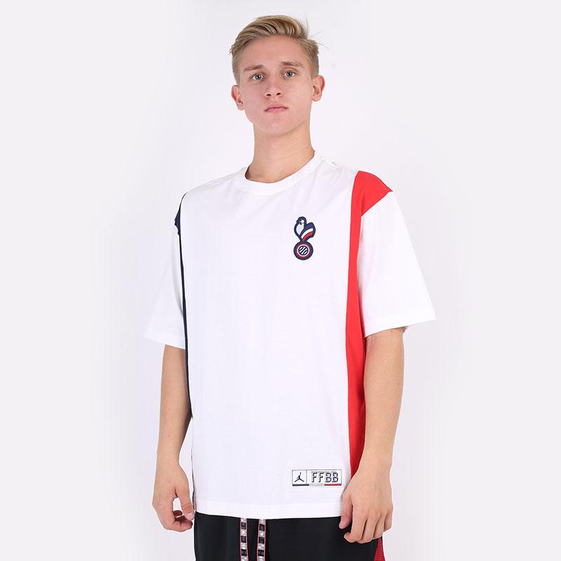 мужскую белую  футболка jordan short-sleeve t-shirt france CT2188-100 - цена, описание, фото 1