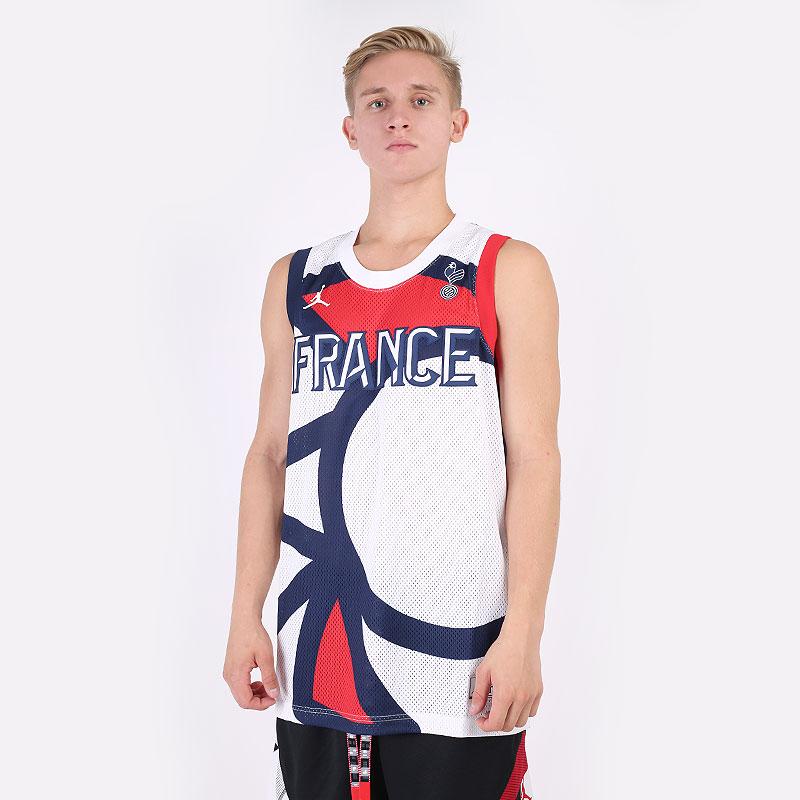 мужскую разноцветную  майку jordan france jumpman jersey CT2187-100 - цена, описание, фото 1