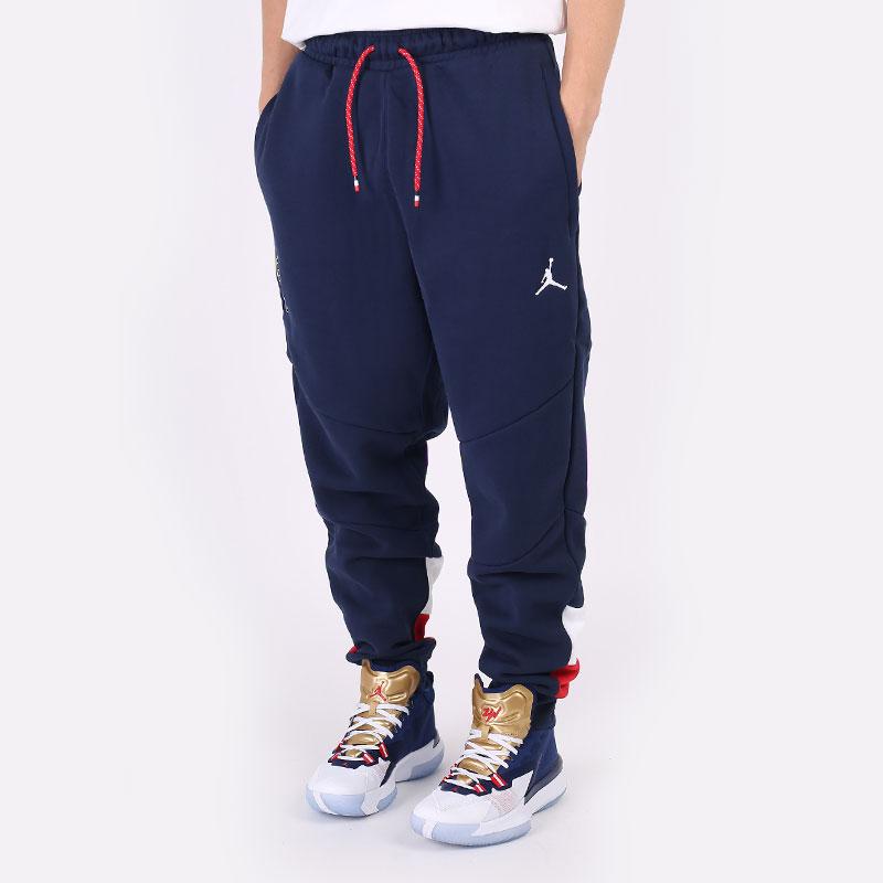 мужские синие  брюки jordan france flight fleece trousers CT2190-419 - цена, описание, фото 1