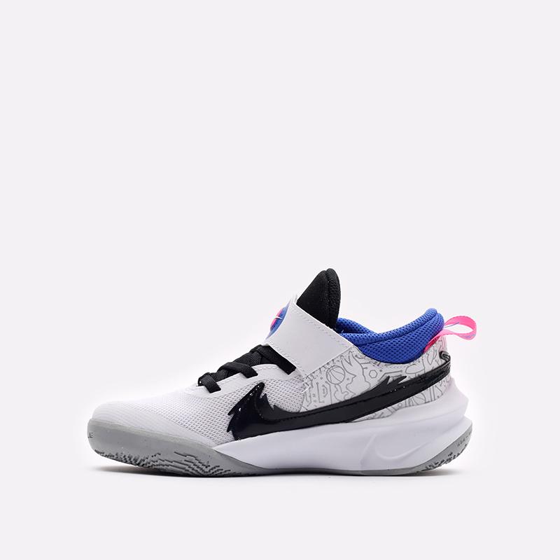 детские белые баскетбольные кроссовки Nike Team Hustle D 10 SE (PS) DH8055-100 - цена, описание, фото 2