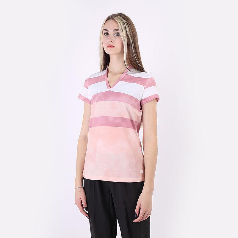женский розовый  поло puma dye stripe polo 59770201 - цена, описание, фото 1