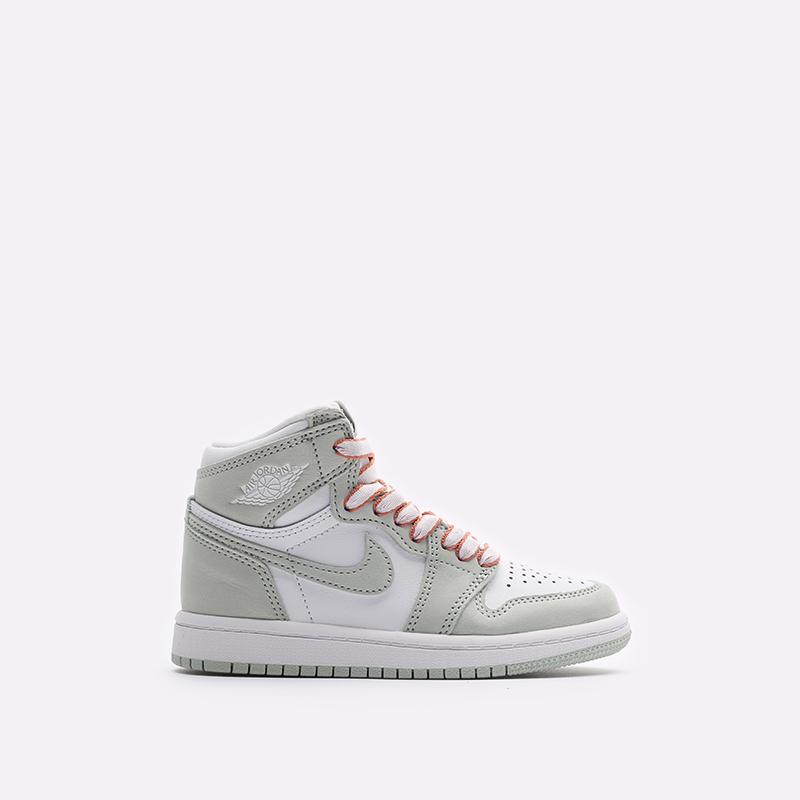детские серые, белые  кроссовки jordan 1 high og (ps) CU0449-002 - цена, описание, фото 1
