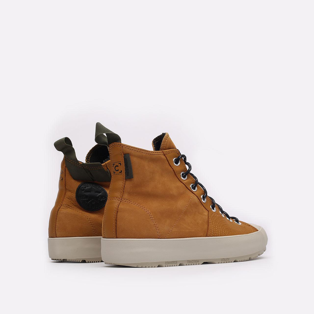 мужские коричневые  кеды converse chuck 70 explore wp hi 171438 - цена, описание, фото 3