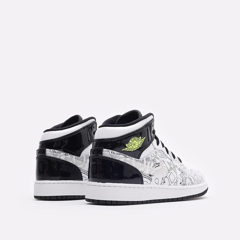 женские белые, чёрные  кроссовки jordan 1 mid se (gs) DC4099-100 - цена, описание, фото 3