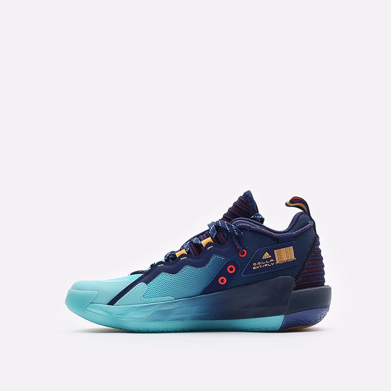 синие баскетбольные кроссовки adidas Dame 7 EXTPLY H68606 - цена, описание, фото 2