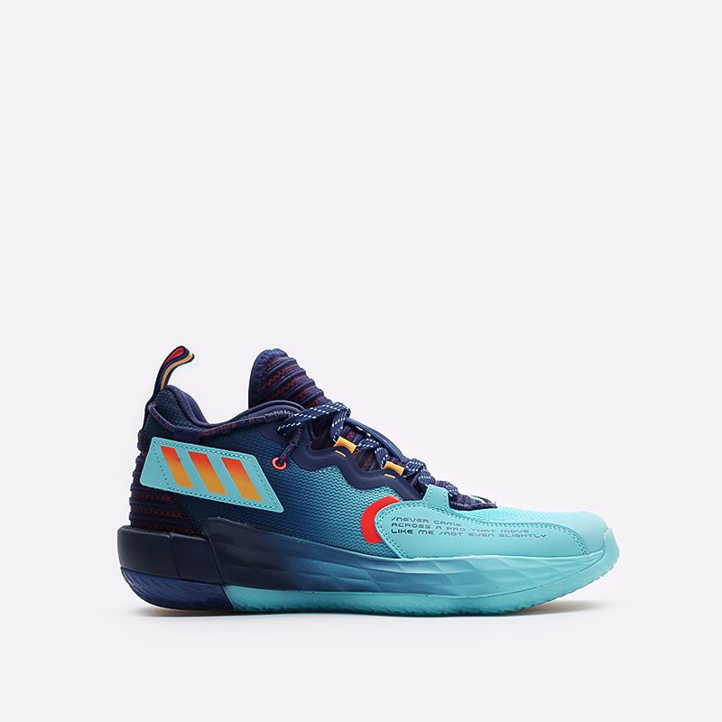 синие баскетбольные кроссовки adidas Dame 7 EXTPLY H68606 - цена, описание, фото 1