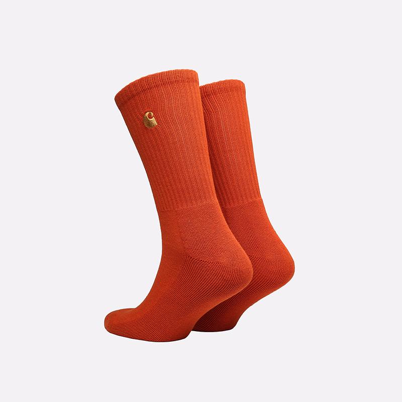 мужские оранжевые носки Carhartt WIP Chase Socks I029421-copperton/gold - цена, описание, фото 2