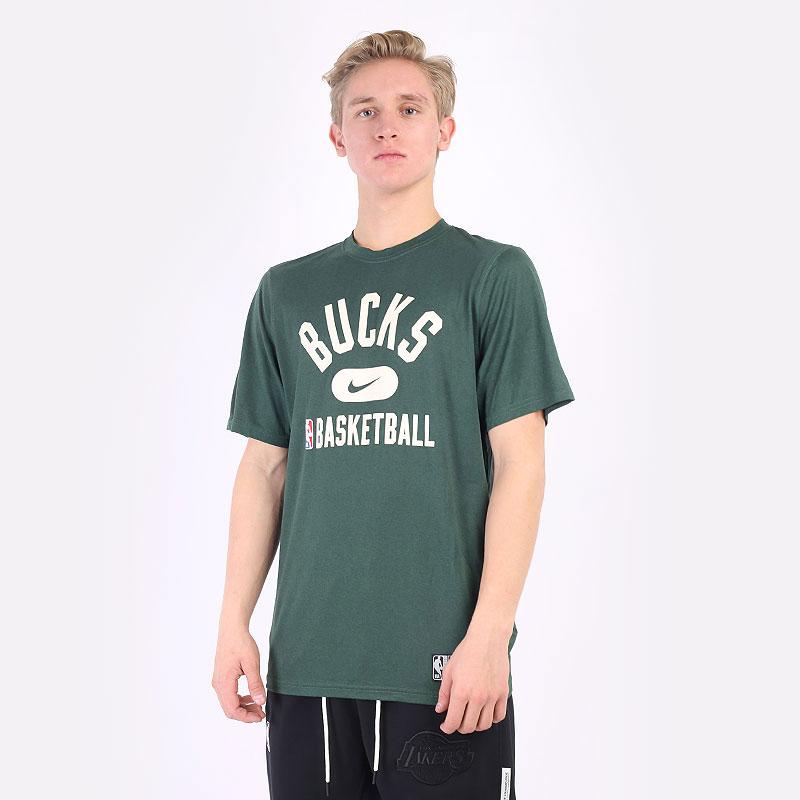 мужская зеленая футболка Nike NBA Bucks Practice Tee DA5928-323 - цена, описание, фото 1