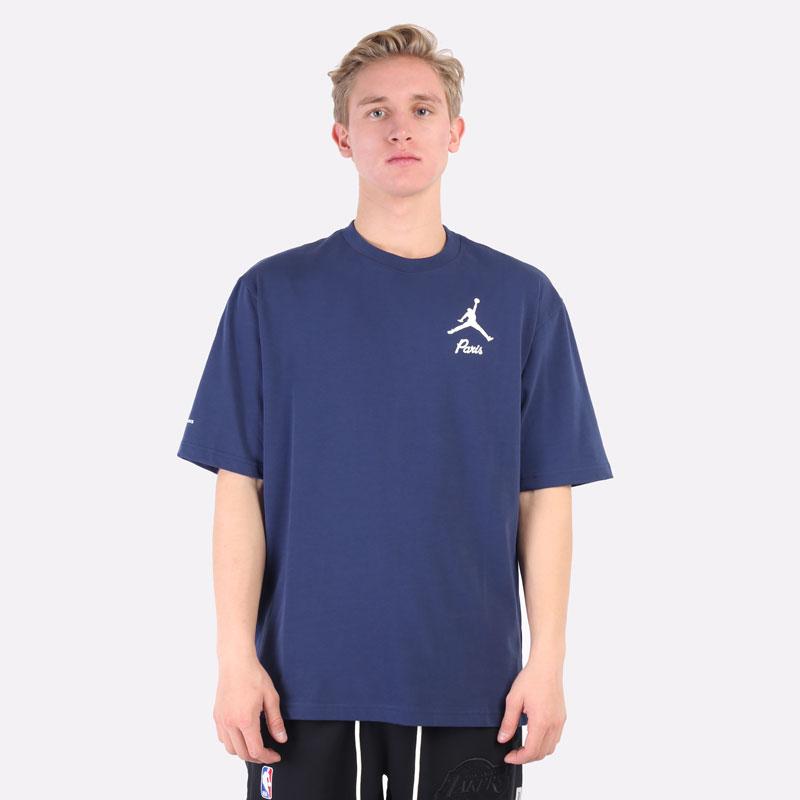 мужская синяя футболка Jordan Paris Saint-Germain T-Shirt DM4138-410 - цена, описание, фото 5
