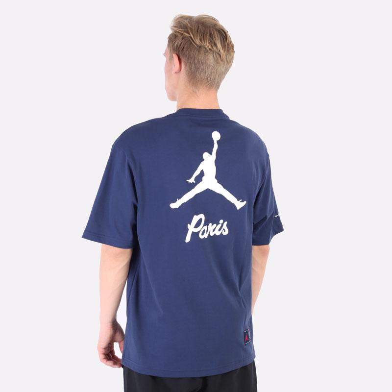 мужская синяя футболка Jordan Paris Saint-Germain T-Shirt DM4138-410 - цена, описание, фото 3