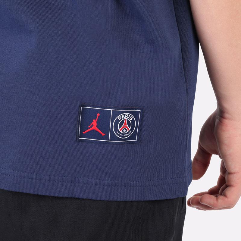 мужская синяя футболка Jordan Paris Saint-Germain T-Shirt DM4138-410 - цена, описание, фото 4