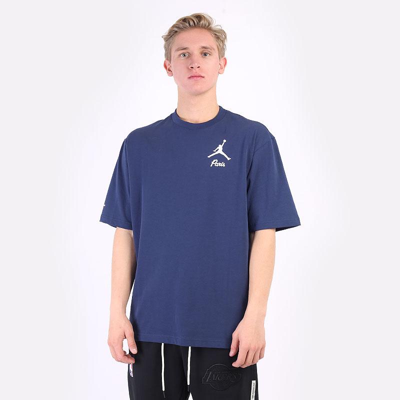 мужская синяя футболка Jordan Paris Saint-Germain T-Shirt DM4138-410 - цена, описание, фото 1
