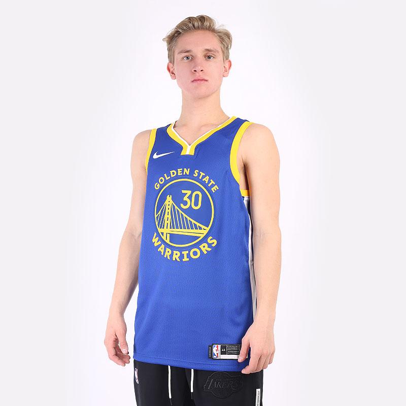 мужская синяя майка Nike Stephen Curry Warriors Icon Edition 2020 NBA CW3665-401 - цена, описание, фото 1