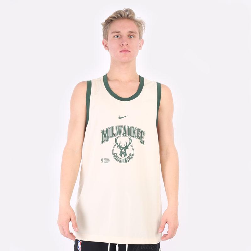 мужская бежевая майка Nike Milwaukee Bucks Courtside DNA NBA Tank DB1278-280 - цена, описание, фото 3