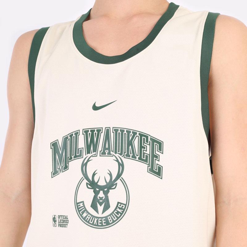 мужская бежевая майка Nike Milwaukee Bucks Courtside DNA NBA Tank DB1278-280 - цена, описание, фото 4