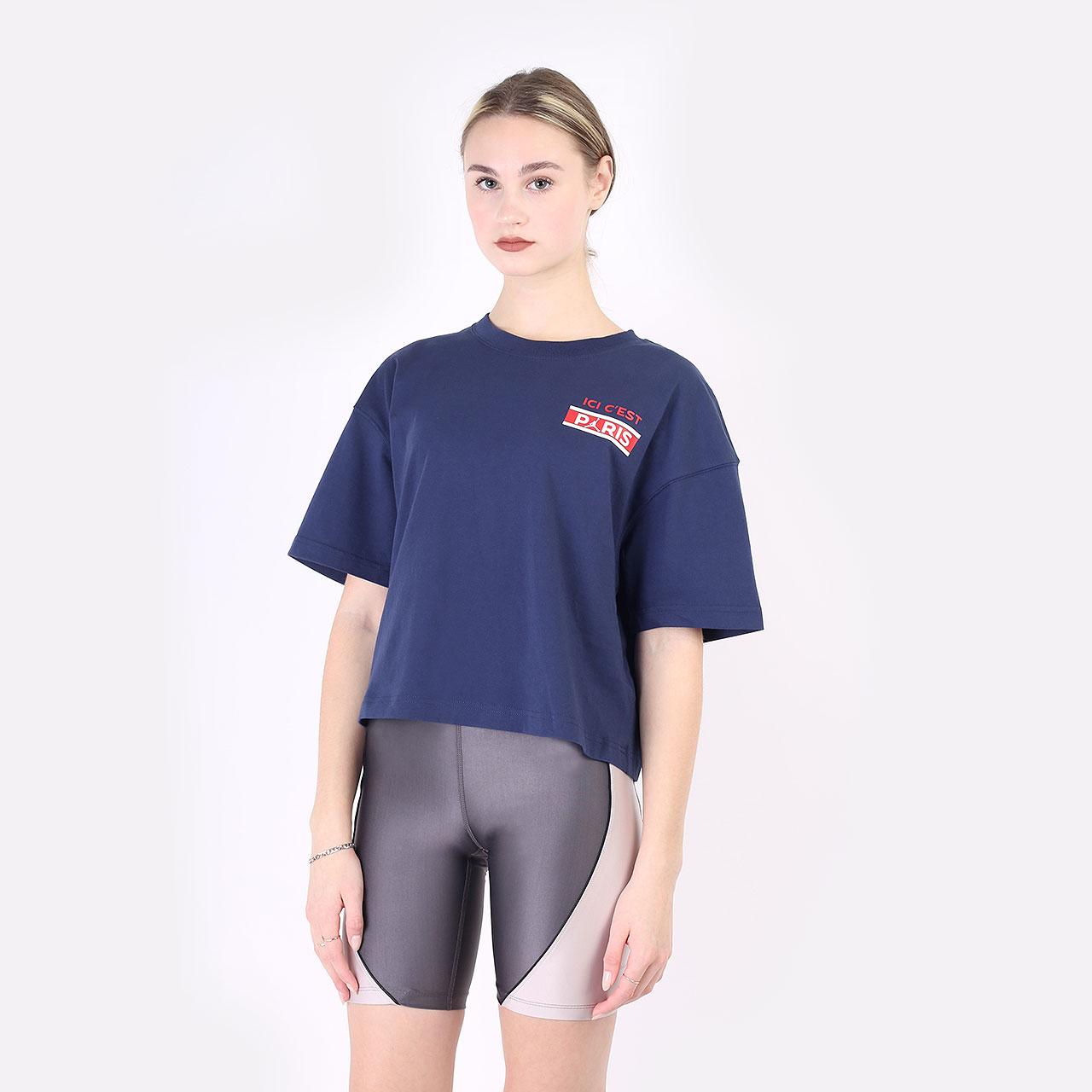 женская синяя футболка Jordan Paris Saint-Germain DC0457-410 - цена, описание, фото 1