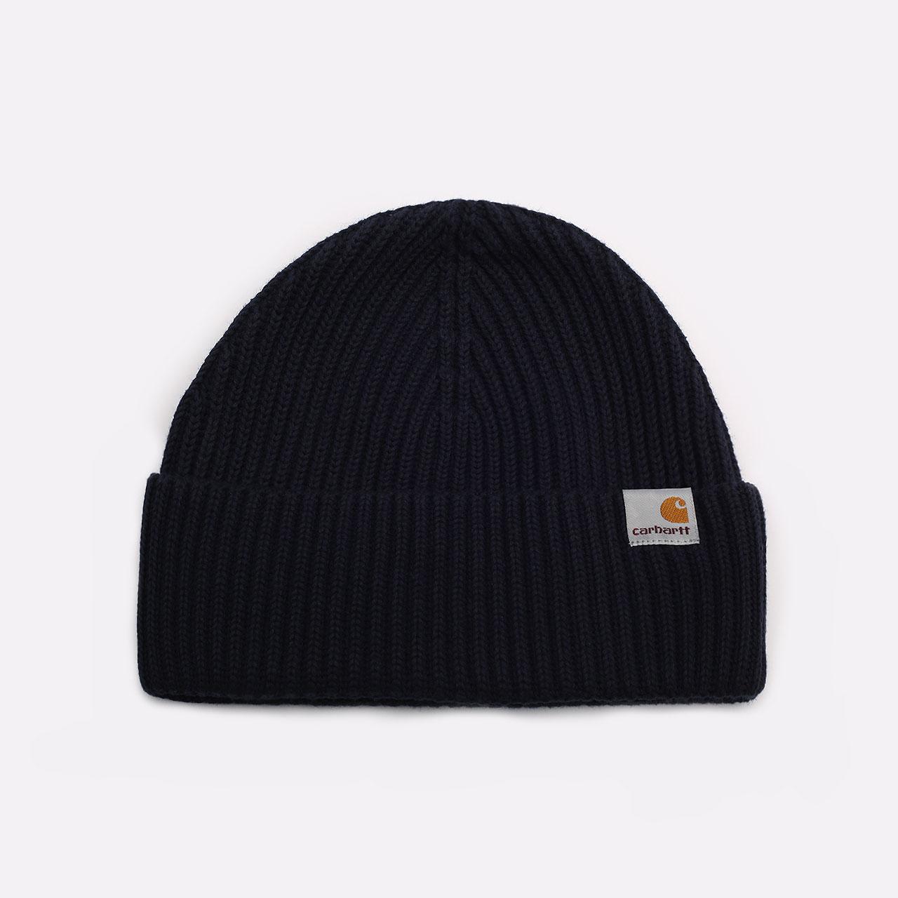 синяя шапка Carhartt WIP Burbank Beanie I029491-dark navy - цена, описание, фото 1