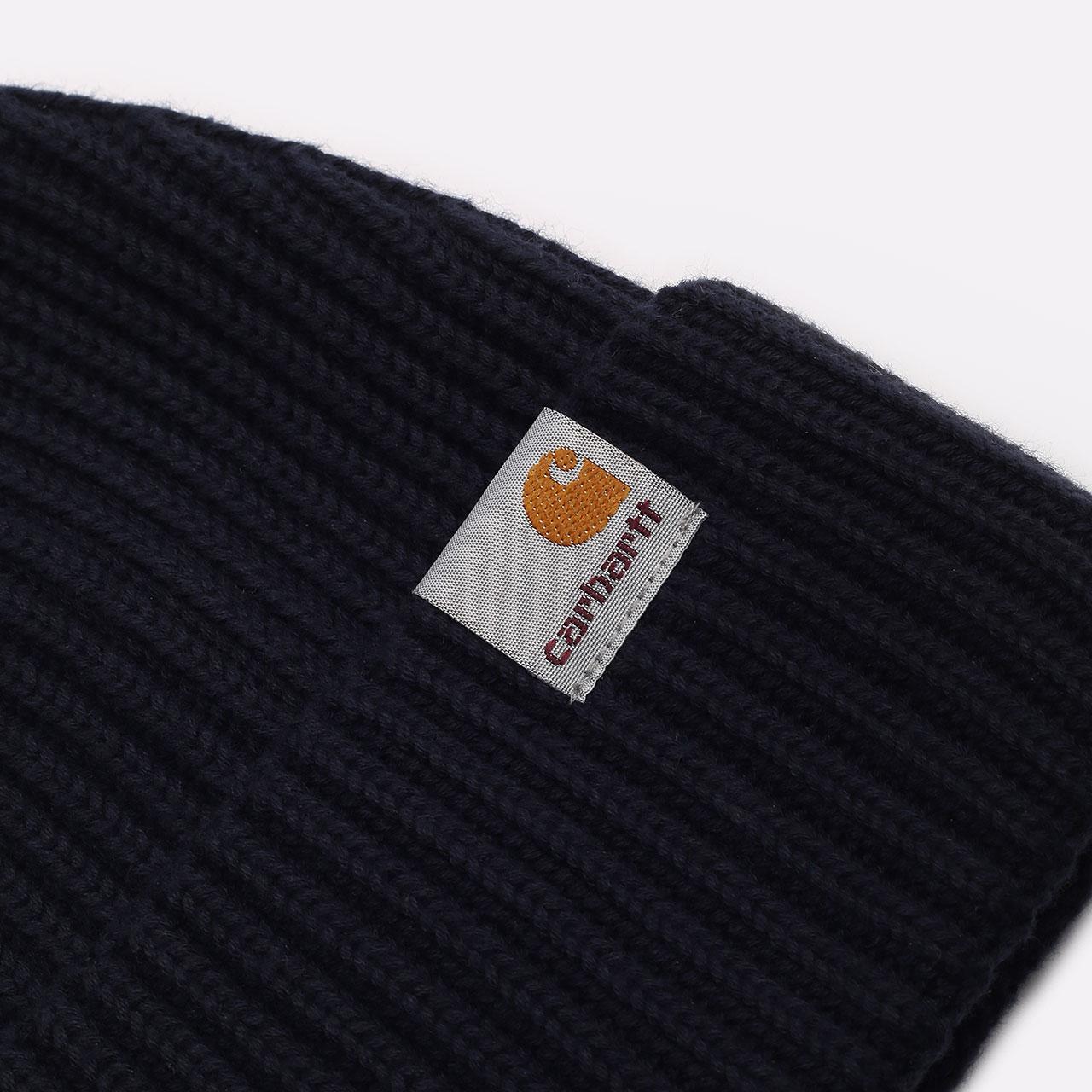 синяя шапка Carhartt WIP Burbank Beanie I029491-dark navy - цена, описание, фото 2