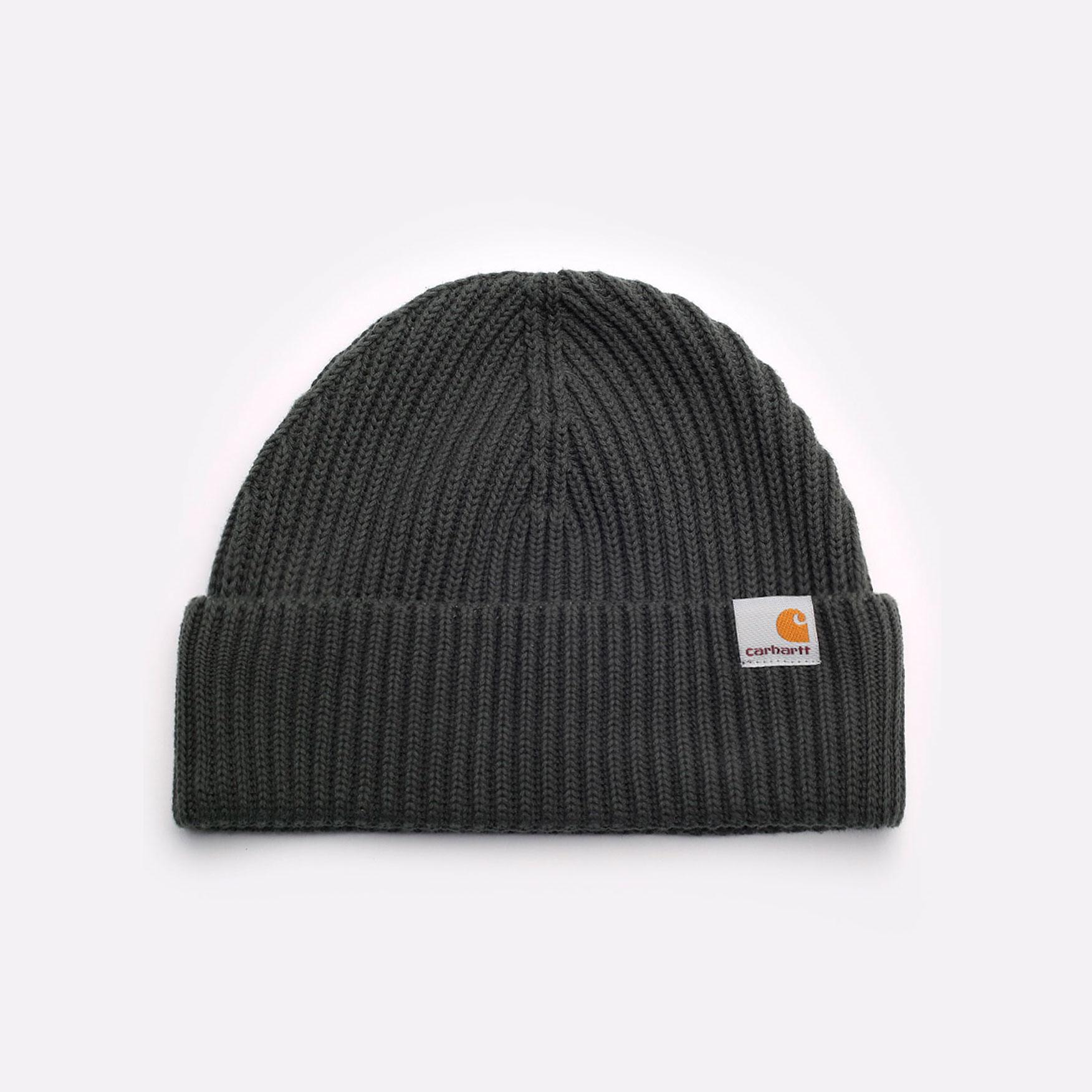 зеленая шапка Carhartt WIP Burbank Beanie I029491-slate - цена, описание, фото 1