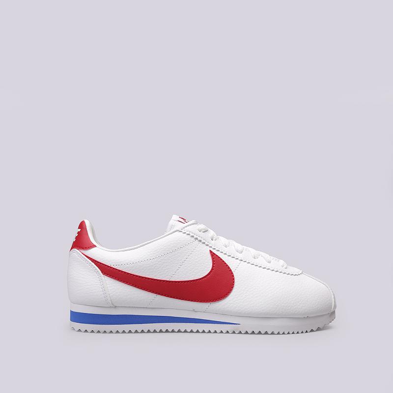 Кроссовки Nike Classic Cortez LeathetКроссовки lifestyle<br>Кожа, текстиль, резина<br><br>Цвет: Белый, красный<br>Размеры US: 8;9;10;10.5;11;11.5;12;12.5;13;14;15<br>Пол: Мужской